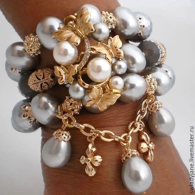 Купить LADY BUTTERFLY Браслет (Серьги) с жемчугом - красивое украшение,  стильное украшение, красивый подарок c0cc7694d4f
