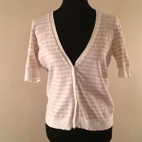 100% Cotton Cream & Tan Short Sleeve Cardigan Cream & Tan Short ...