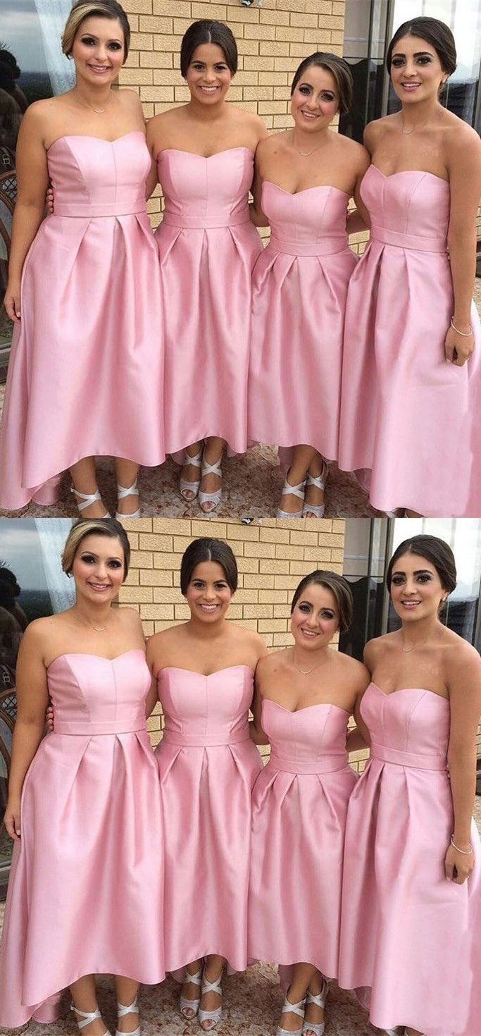 A-Line Strapless High Low Pleated Pink Satin Bridesmaid Dress ...