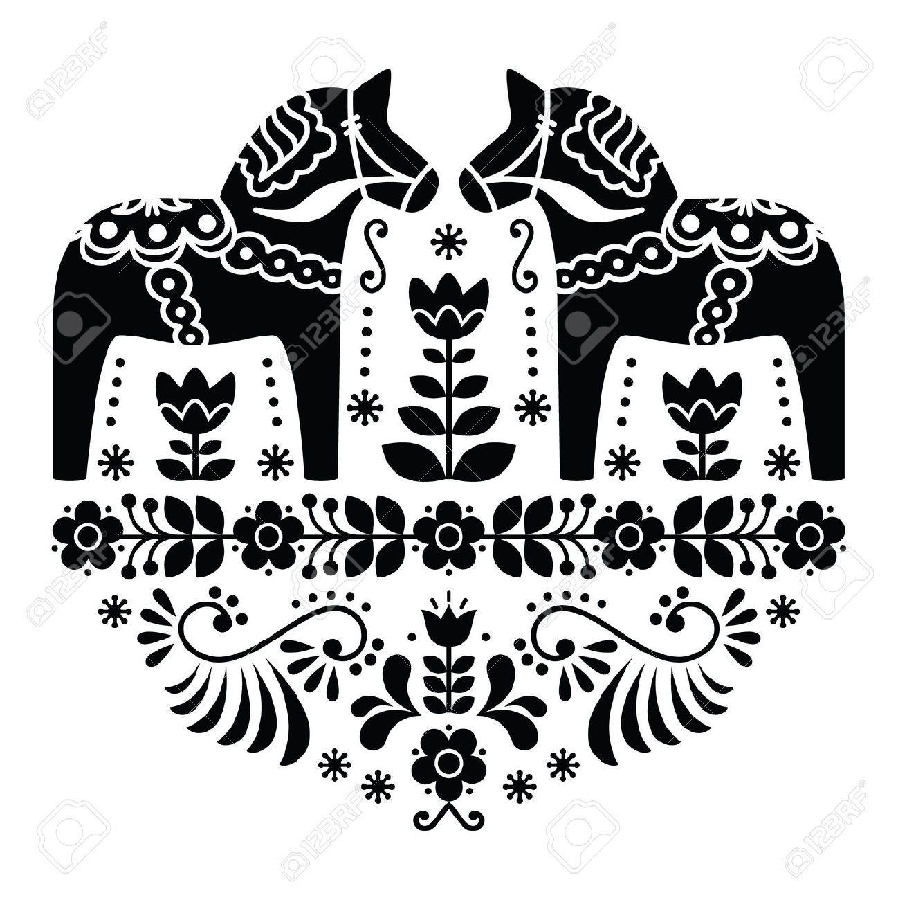 art christmas folk Scandinavian