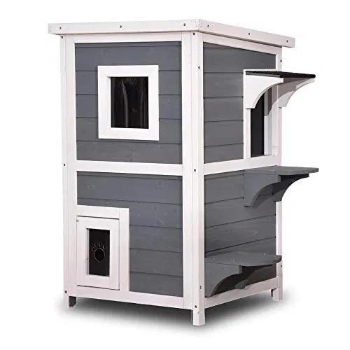 Lovupet 2 Story Weatherproof Wooden Outdoor Indoor Cat Shelter House Condo With Escape Door 0508 Grey Outdoor Cat House Outdoor Cat Shelter Cat House
