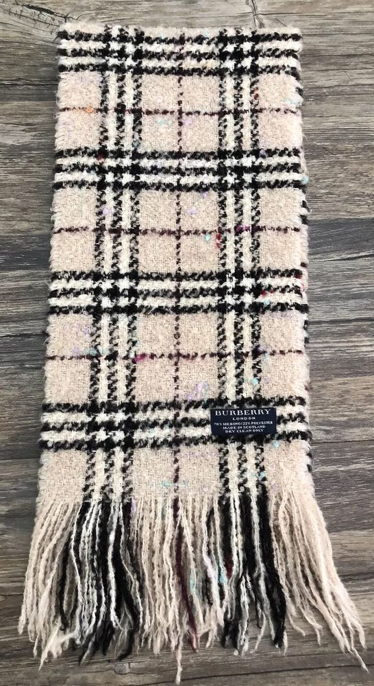 nuovo stile 66b4d dcfd6 Details about Burberry Merino Wool Plaid Scarf Fringe in ...