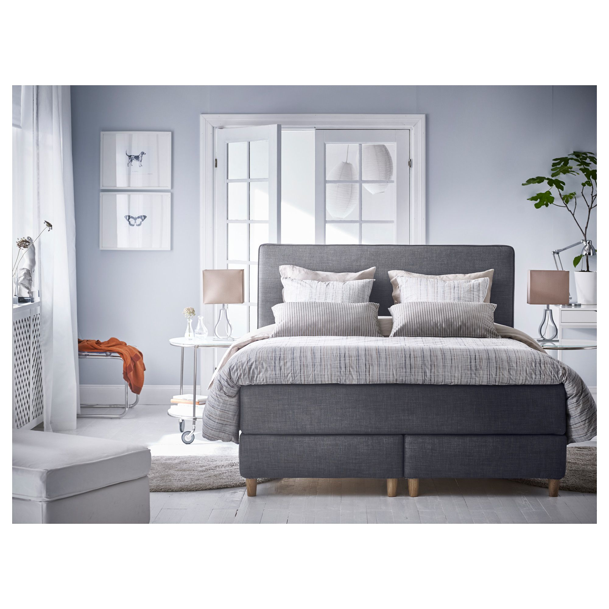 ikea dunvik kontinentals ng h v g fast tuddal m rkgr 180x200 cm brynilen en stilren. Black Bedroom Furniture Sets. Home Design Ideas