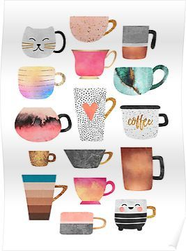 'Coffee Cup Collection' Poster by Elisabeth Fredriksson