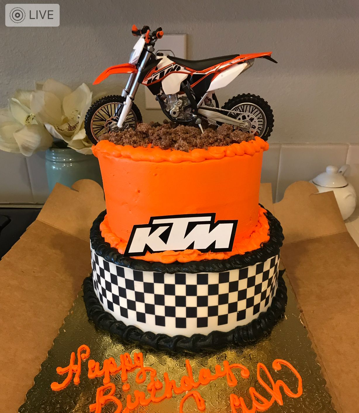 Awe Inspiring Ktm Racing Dirt Bike Birthday Cake With Images Motorcycle Funny Birthday Cards Online Inifofree Goldxyz