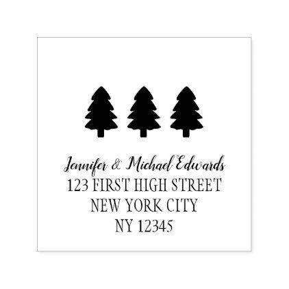 modern christmas trees return address self inking self inking stamp