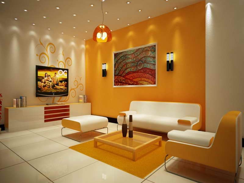 Beautiful White And Orange Living Room Design With Accent Wall Great Lighting By Dizzy Miro