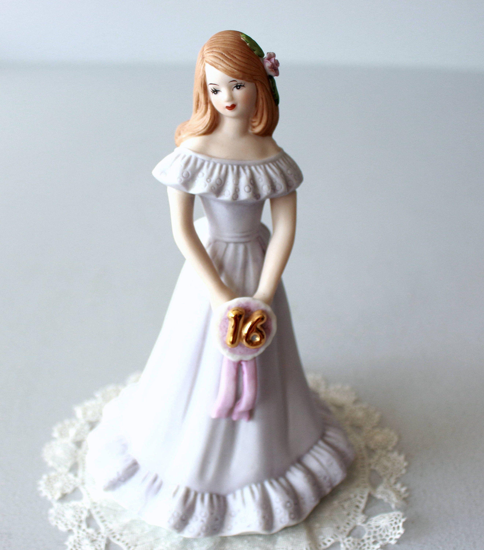 Birthday girl sweet 16 statue vintage figurine girl in