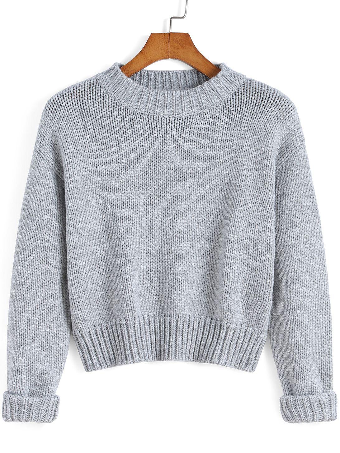 99fd6ff26c0d Jersey cuello redondo crop tejido -gris 20.65 | chompas | Diseña tu ...