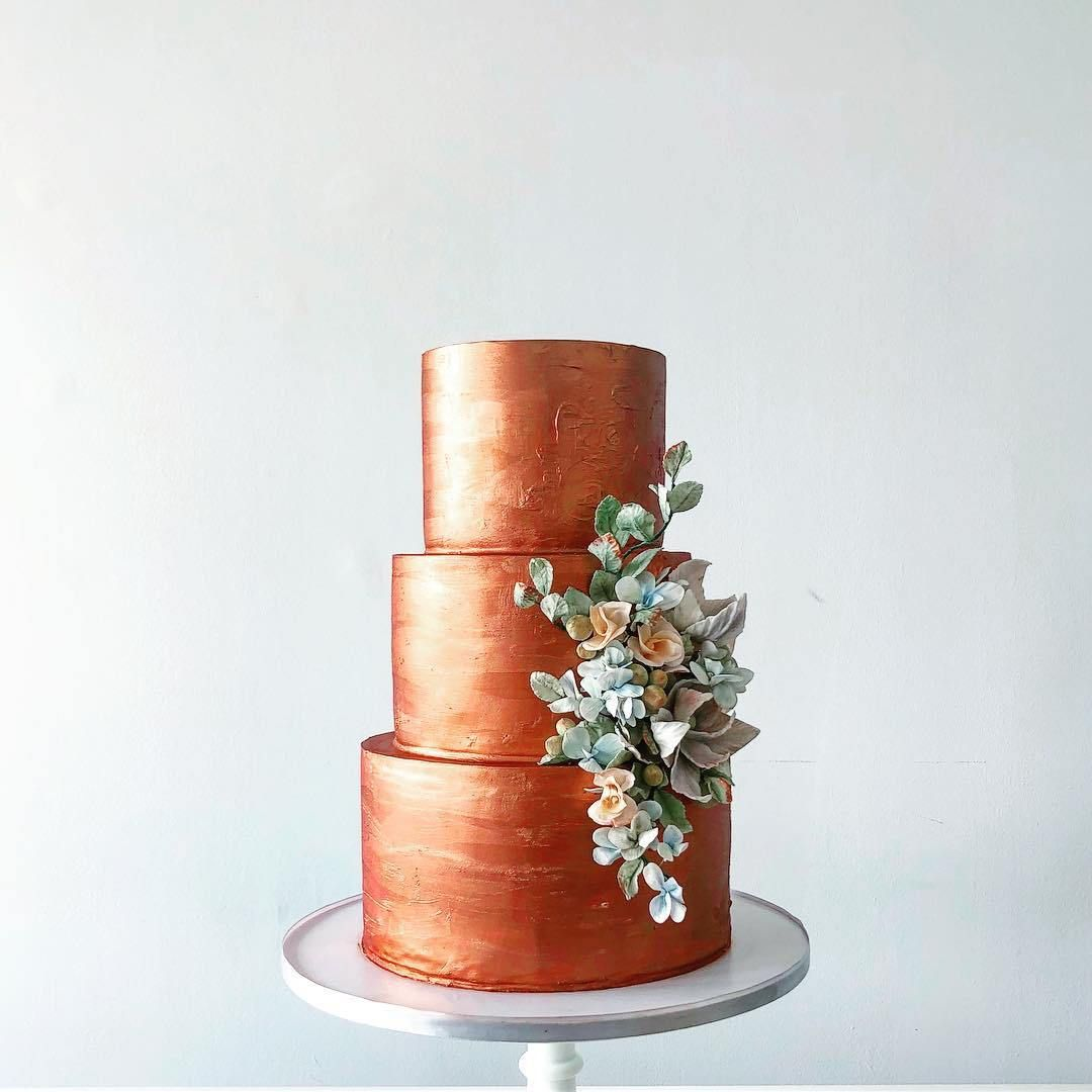 Copper three tier wedding cake ,wedding cakes #weddingcake #cake