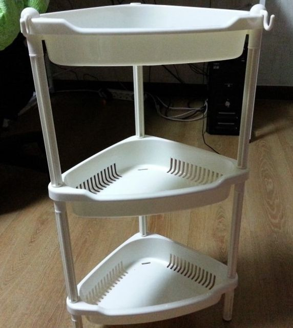 New 3layers Corner Shelf Stand Shampoo Storage Rack For Bathroom White Ebay Corner Shelves White Bathroom Storage Rack
