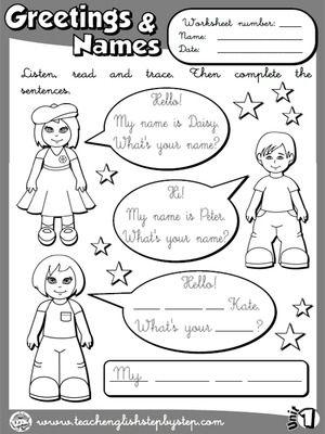 Greetings and names worksheet 6 bw version tareas ingles english language greetings and names worksheet m4hsunfo Image collections