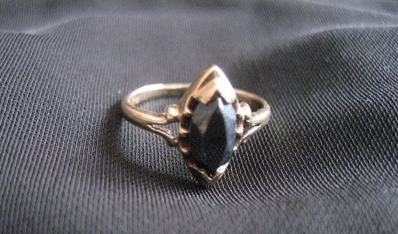 1960 S Black Alaskan Diamond Ring With Marquis Shape Stone 10kt Gold Hard To Find Vintage Ring Size 5 75 10kt Gold Diamond Diamond Ring