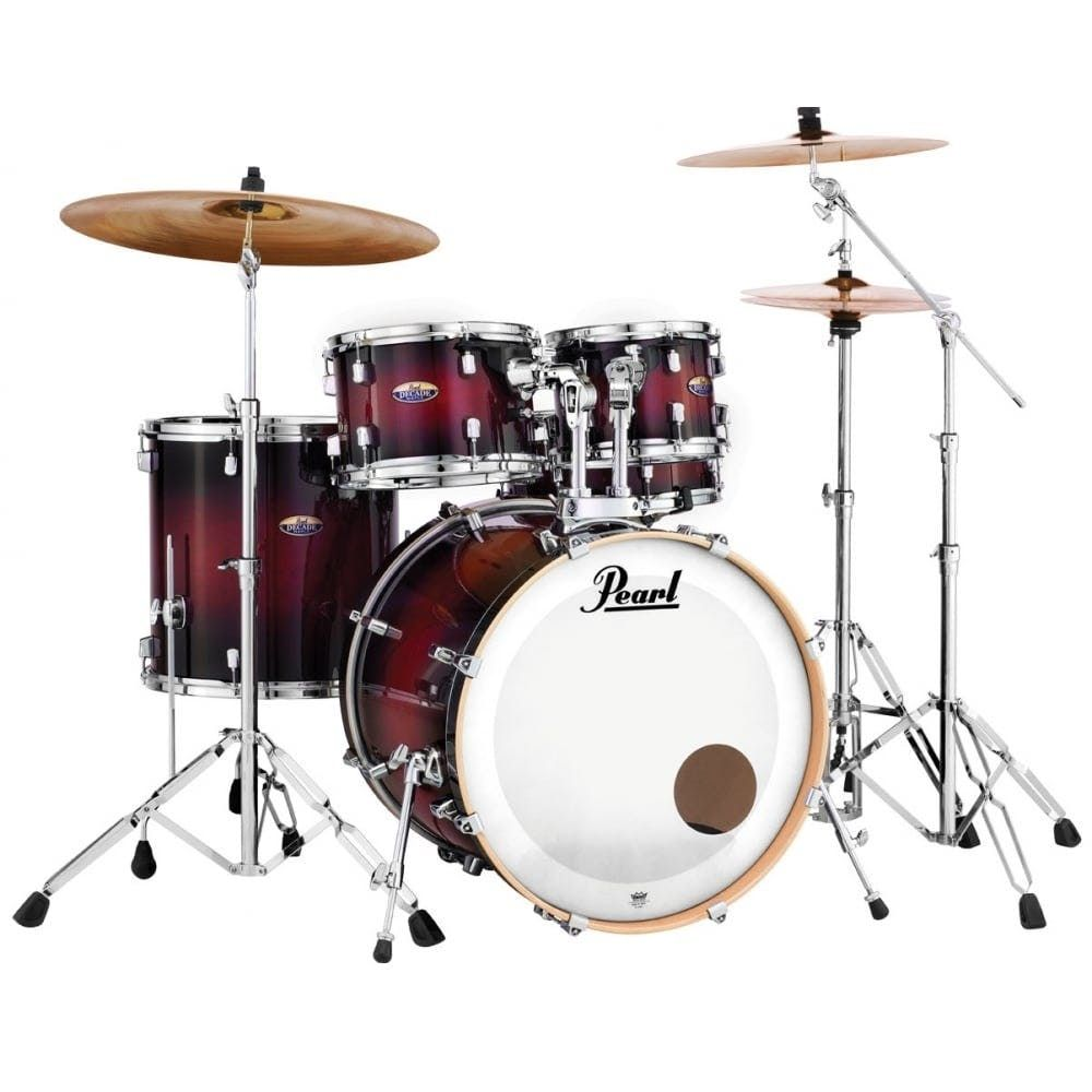 Pearl Decade Maple Rock Fusion Drum Kit In Deep Red Burst Drums
