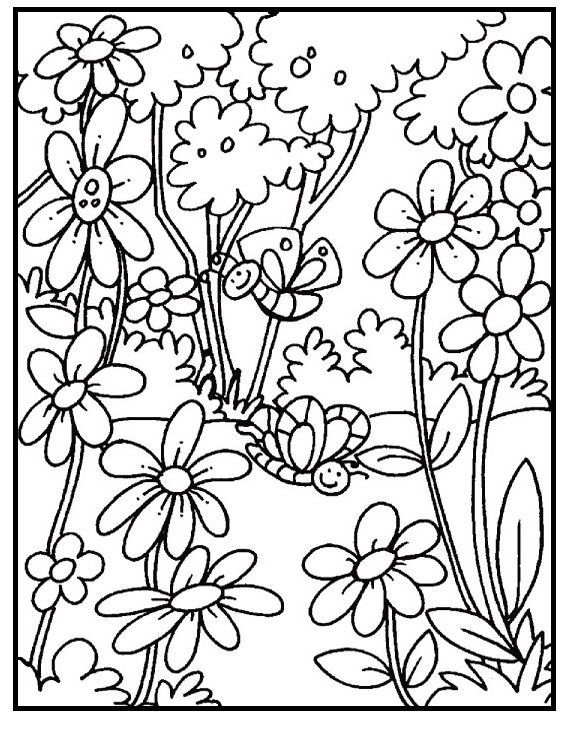 Butterfly On Garden Spring Day Coloring Picture For Kids Flower