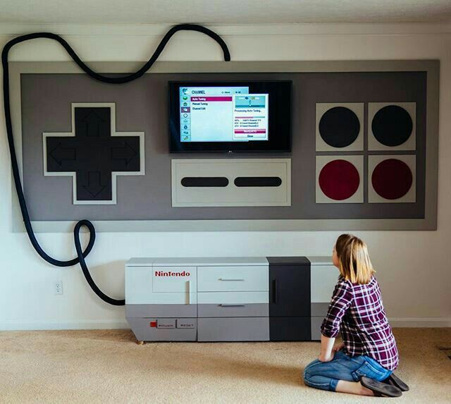 Video game room furniture Multiple Tv Game Clever nintendo Home Theater Game Room Furniture Gaming Furniture Hiding Wires Pinterest Clever nintendo Random Cool Stuff In 2019 Video Game Rooms