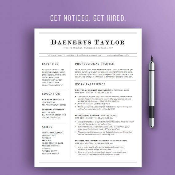 Professional Resume Template  Simple Resume Design  Instant
