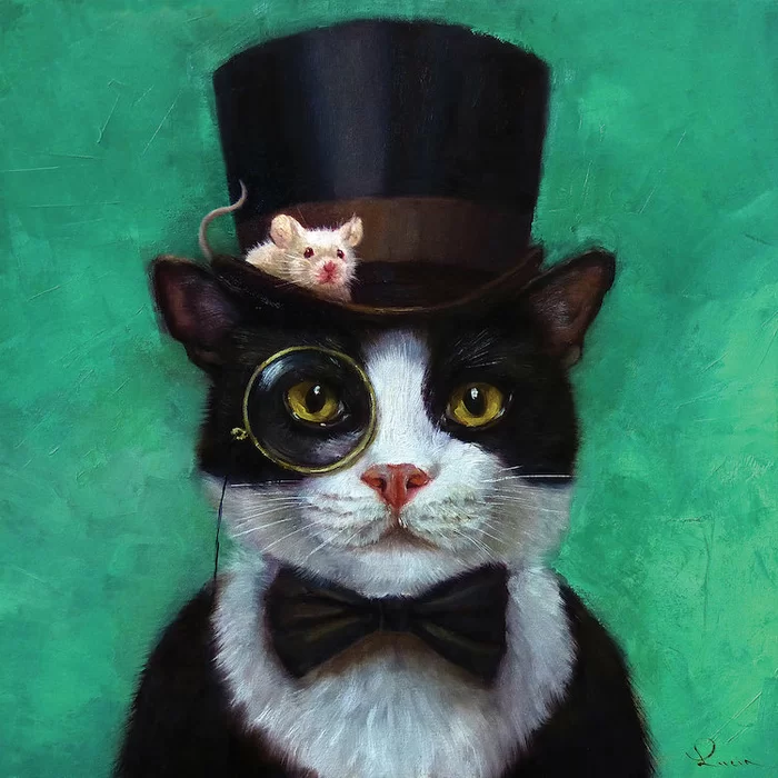 'Tuxedo Cat' Painting on Wrapped Canvas in 2020 Cat art