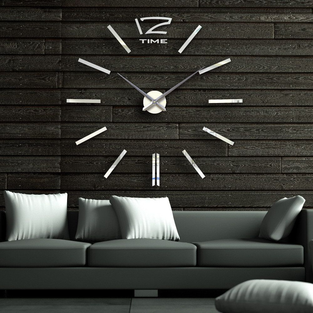 Awesome 40 Inch Modern 3D Mirror Wall Clock, DIY Room Home Decor Bell Cool Mirror  Sticker