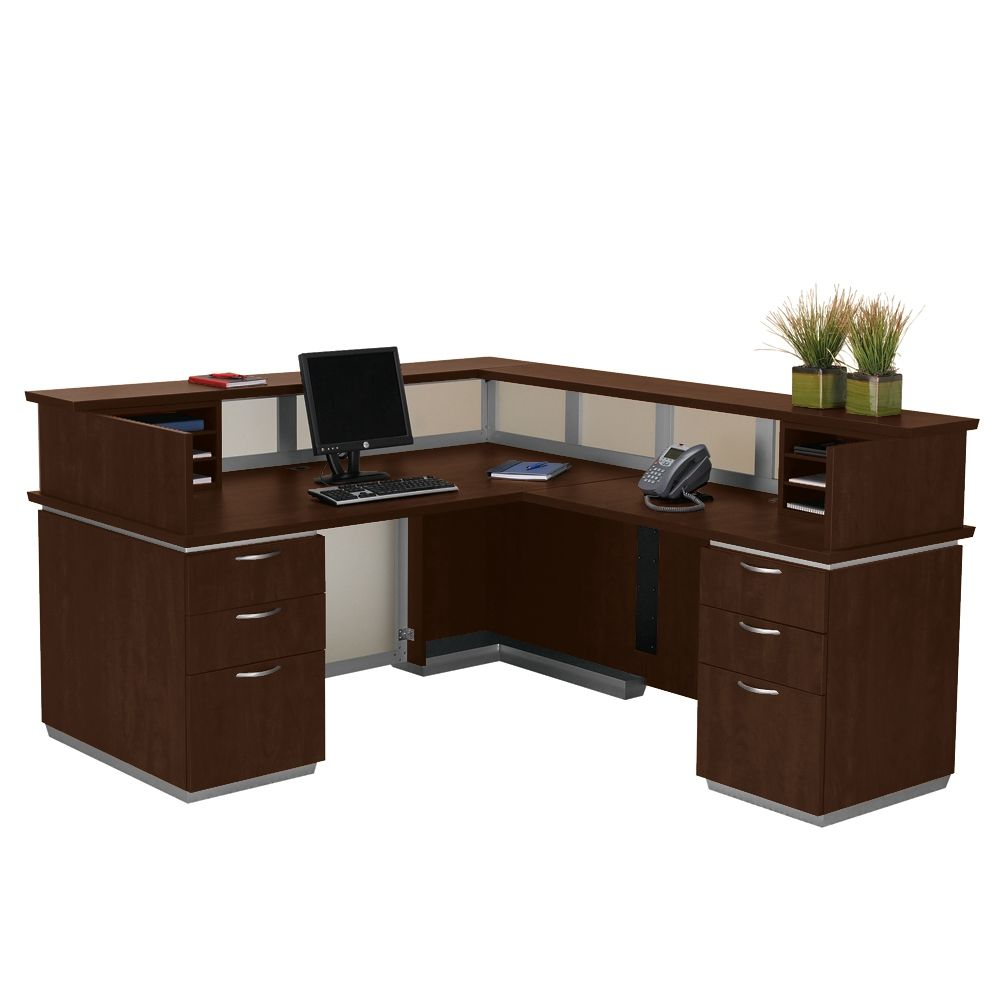 Frosted Glass Panel Reception Desk With Right Return