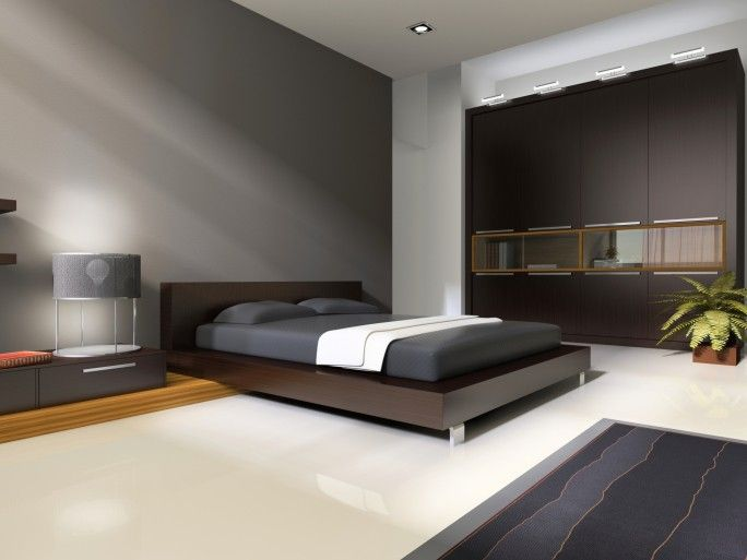 Minimalistische dunklen grauen und weißen Hauptschlafzimmer mit ...