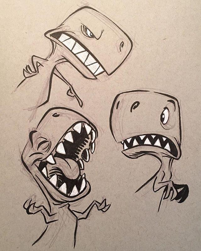 "Eric Scales on Instagram: ""#dinosaurs #dinos #cartoon #trex #brushpen #animation #characterdesign #characterdesigner"""