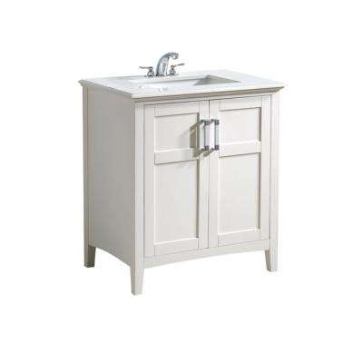 Brooklyn Max Wilshire 30 In Bath Vanity In Pure White With Engineered Quartz Marble Vanity Top In Bombay White With White Basin Bmvrwinw 30 The Home Depot In 2020 Marble Vanity