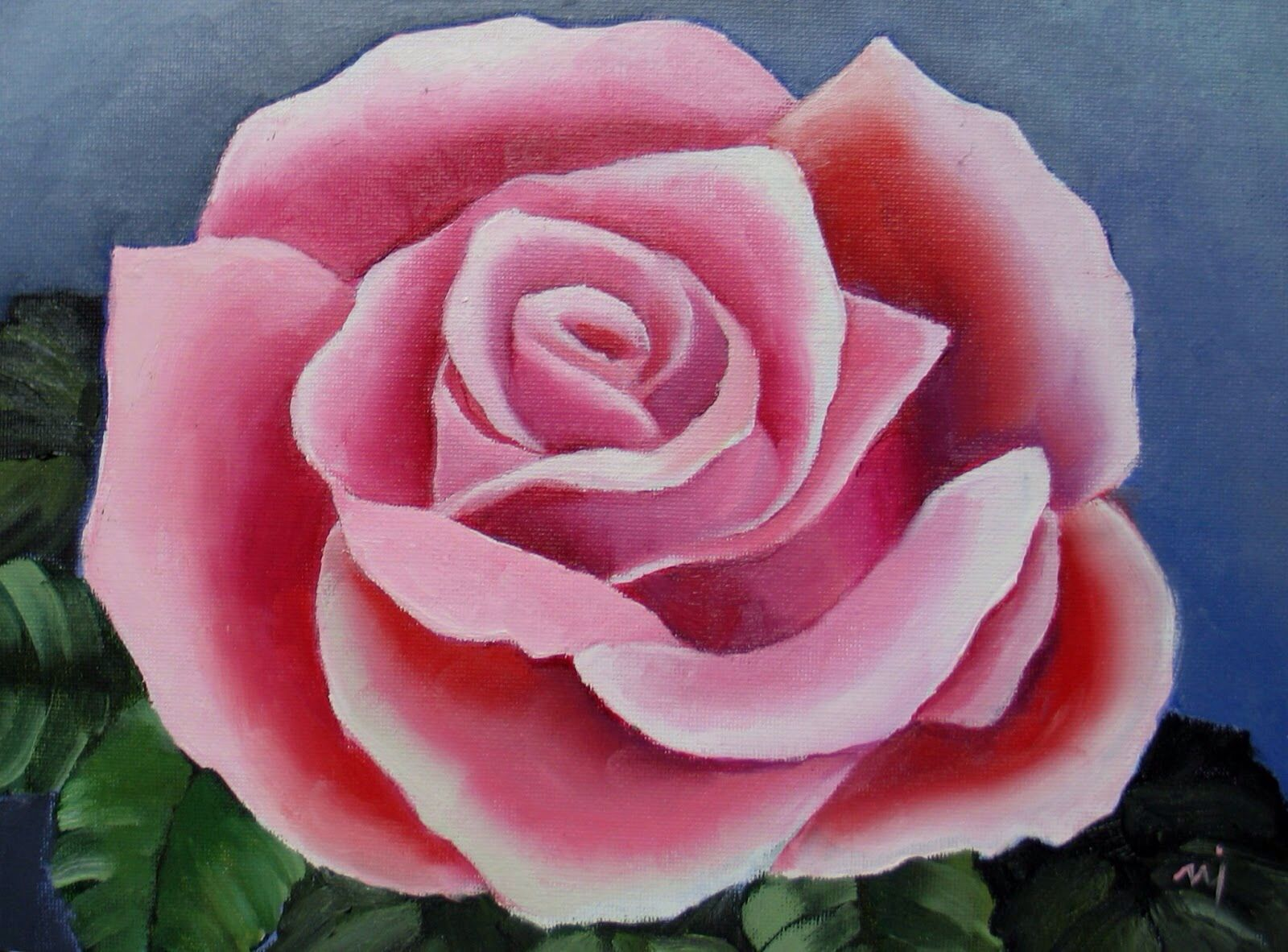 Pink Rose Rose Painting Acrylic Rose Painting Rose Oil Painting