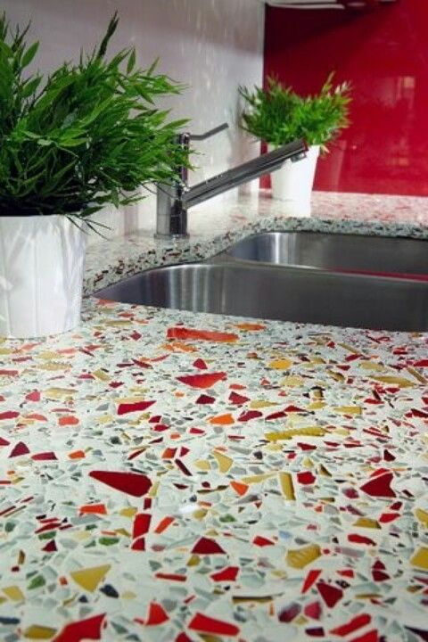Recycled glass countertops via GlassSLAB. This would go so good with my chili pepper accessories.