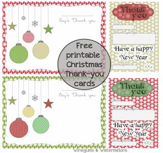 Christmas Thank You Cards Free Printables Holiday Crafts