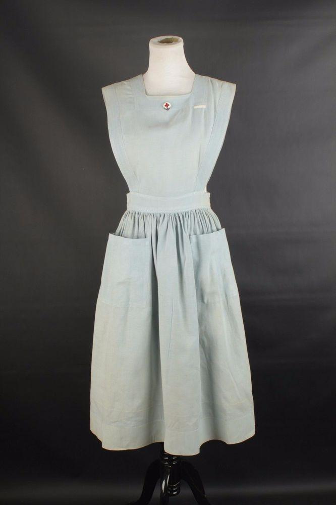 359d57b4ef33e VTG Women's WWII ARC Nurse's Aid Corps Uniform w/ Coif 1940s 40s #1293 WW2