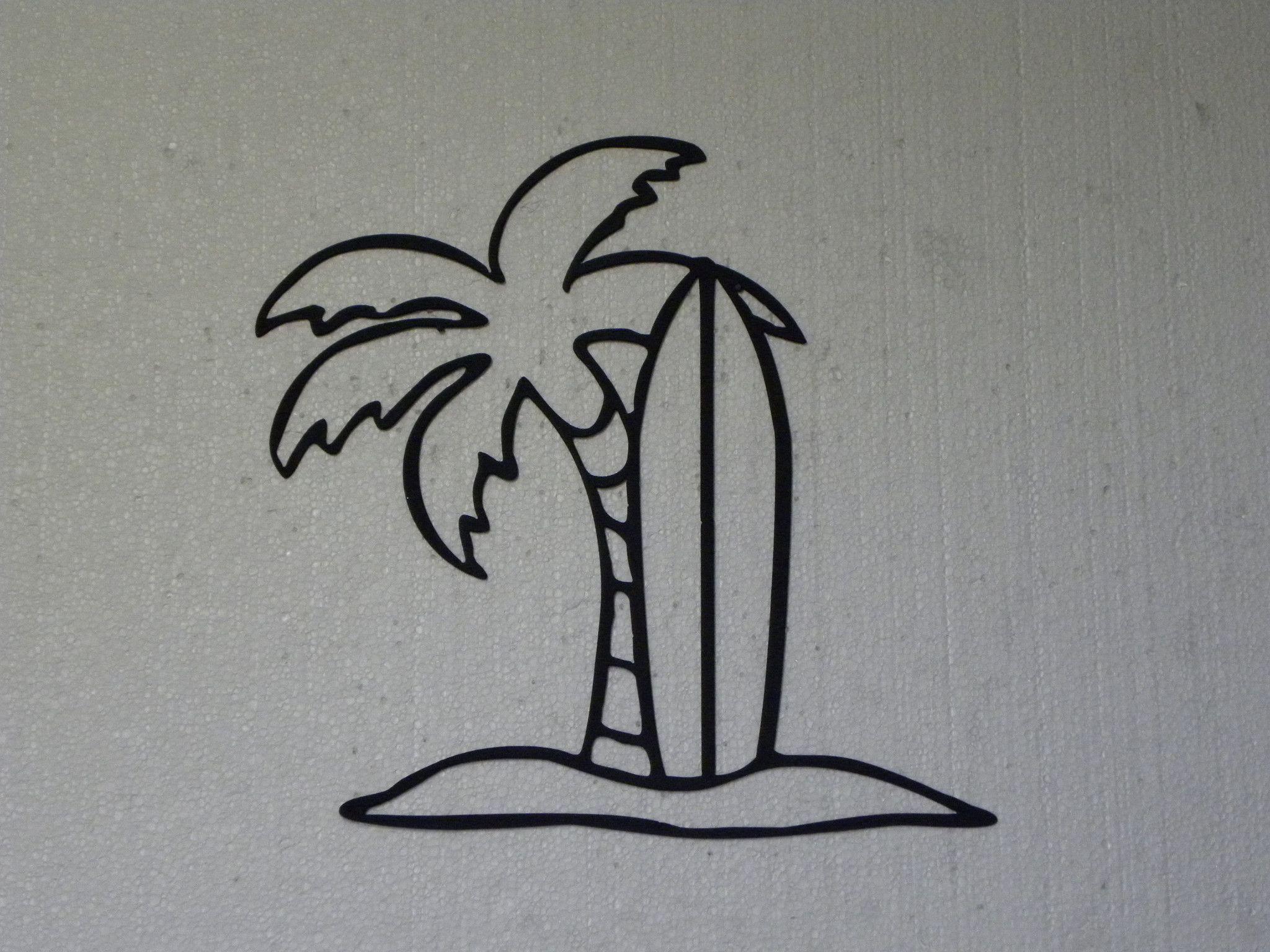 Palm tree and surfboard tropical decor metal wall art