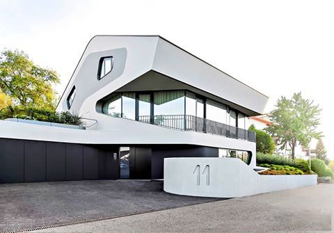 Extremely unique and amazing Stuttgart, Germany home with ultra-modern design and curvy lines.