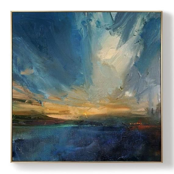 Original Large Sea Landscape Painting,Blue Abstract Painting,Landscape Abstract Painting,Sky Abstract Painting,Large Wall Abstract Painting