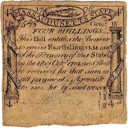 Massachusetts 4 Shillings 1779 American Revolutionary