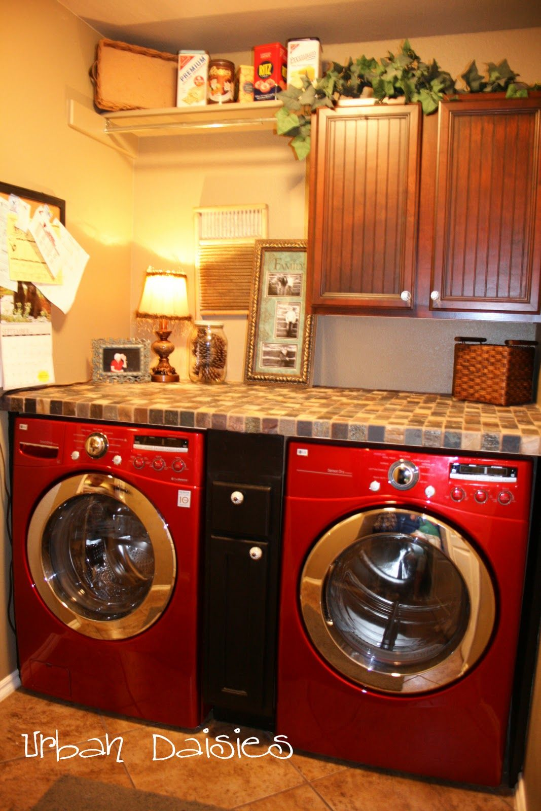 Add a counter over washer and dryer and drawers in between for Laundry room countertop over washer and dryer