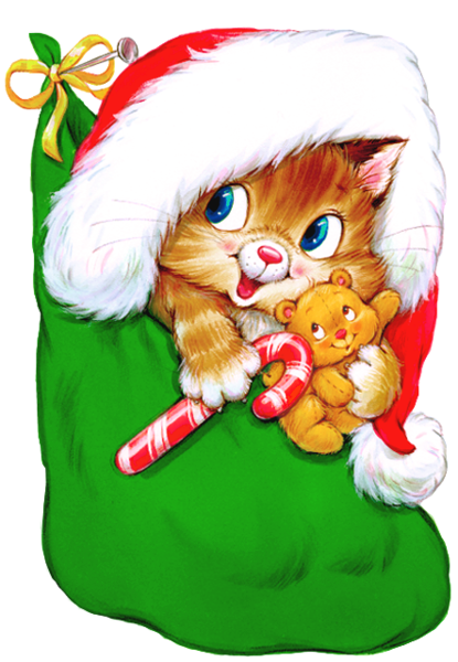 Transparent Christmas Kitten with Candy Cane Clipart ...