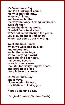 Poem For Wife Or Husband For Valentine S Day Card Valentine