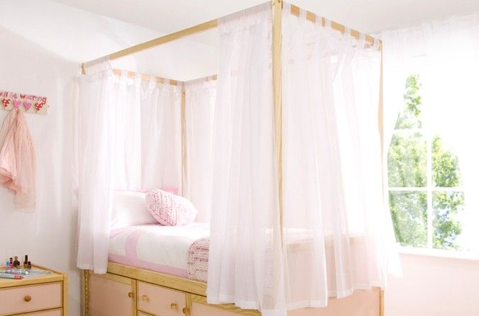 White voile curtains sourced to fit all childrens bed - Beautiful girls bedroom furniture ...