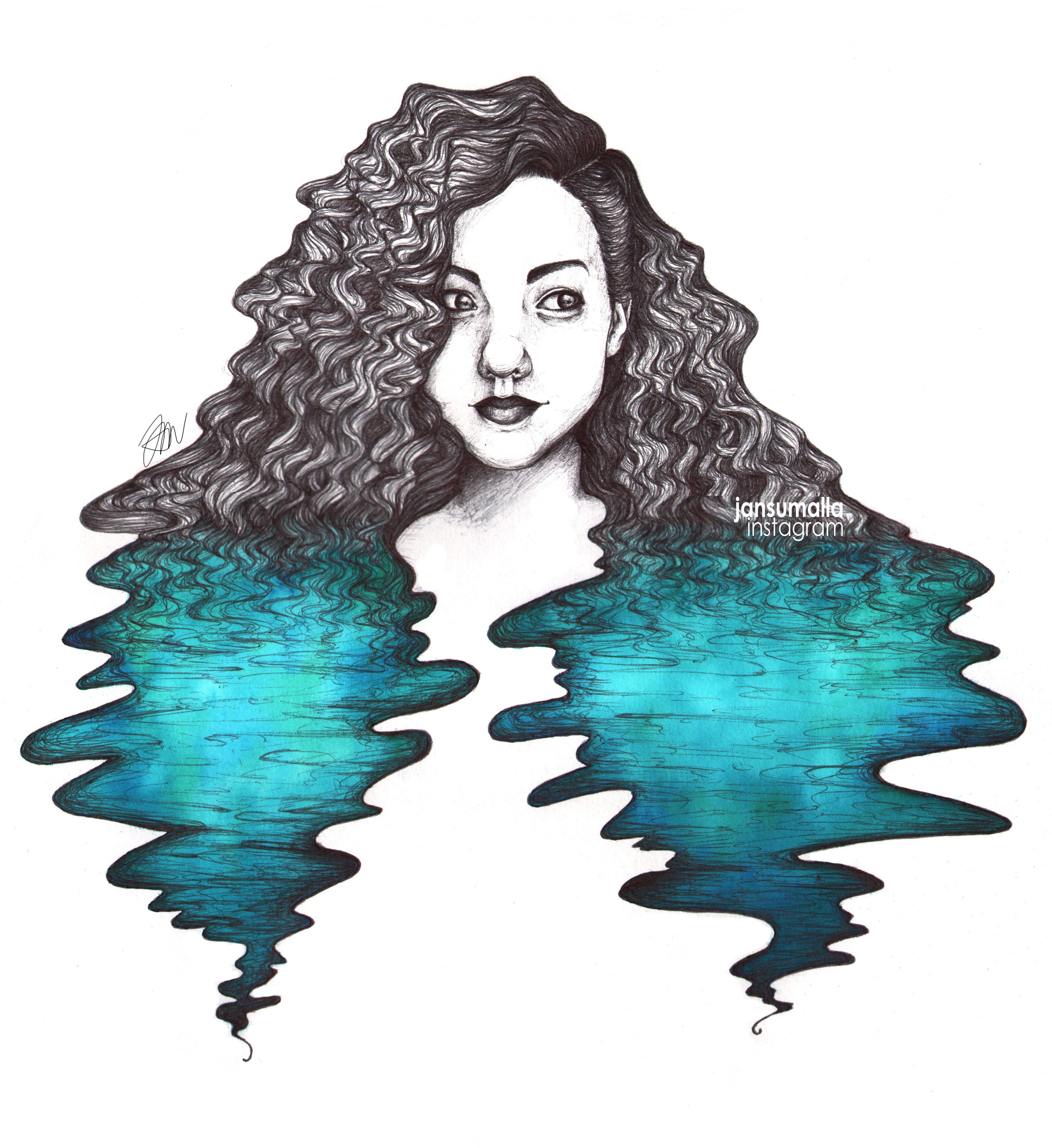 AQUA. Watercolor and pen illustration.