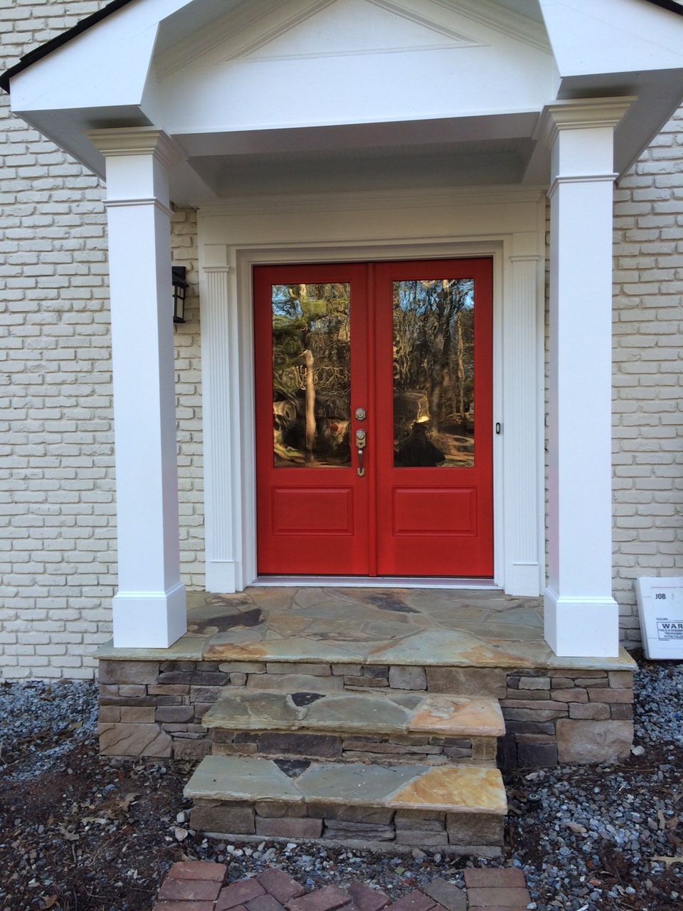 Portico With Red Door And With New Stone Steps At East Cobb Home By
