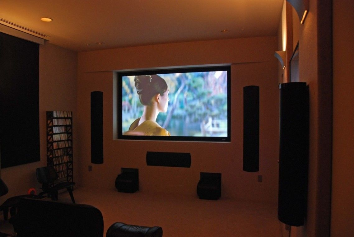 exciting design ideas of home cinema with brown wall paint color