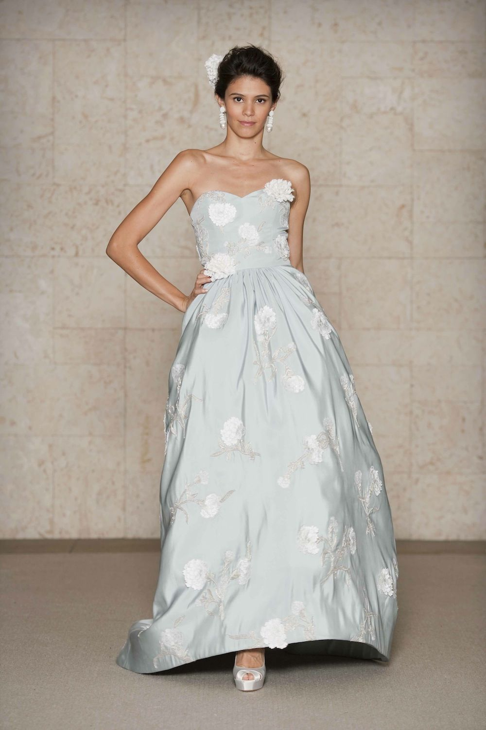Oscar De La A Silk Faille Strapless Gown With Embroidered Carnations And Silver Bullion Via Blue Wedding