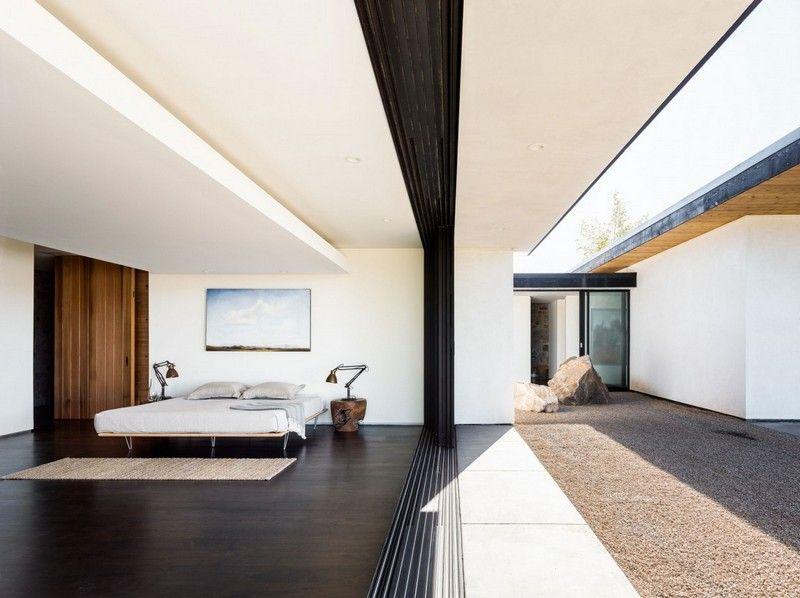 Pierre et bois dans une maison moderne californienne | - BEDROOM ...
