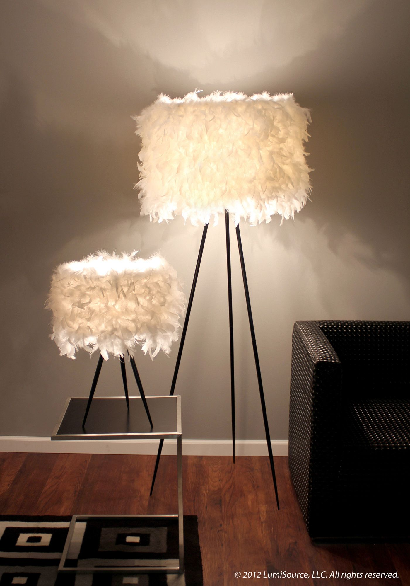 Feather lampshade AllModern Feather lamp, Funky bedroom
