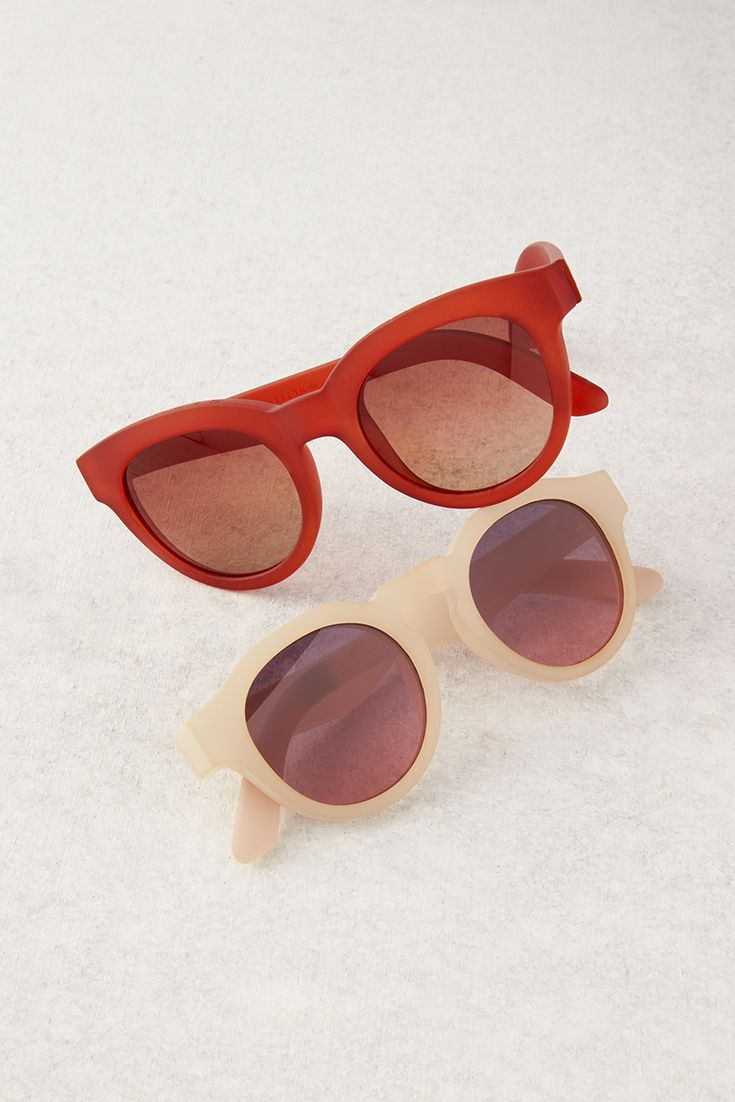dc371618b Click to shop new and exclusive TRAVELER by TOMS Sunglasses in matte nude  and bright red.