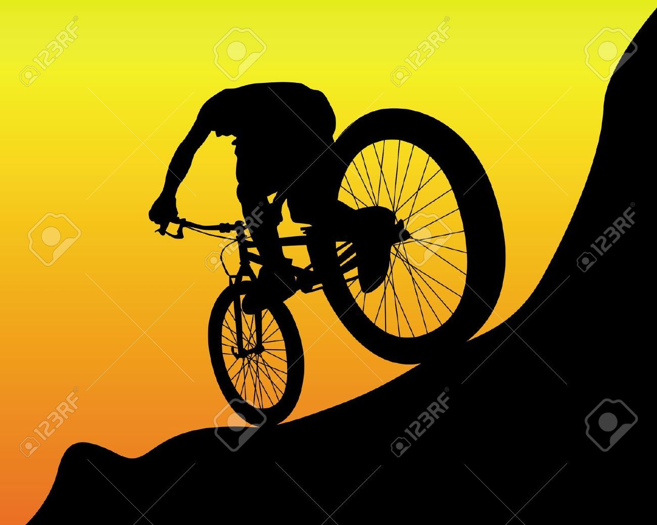 Black silhouette of a mountain biker on an orange background | gifts ...