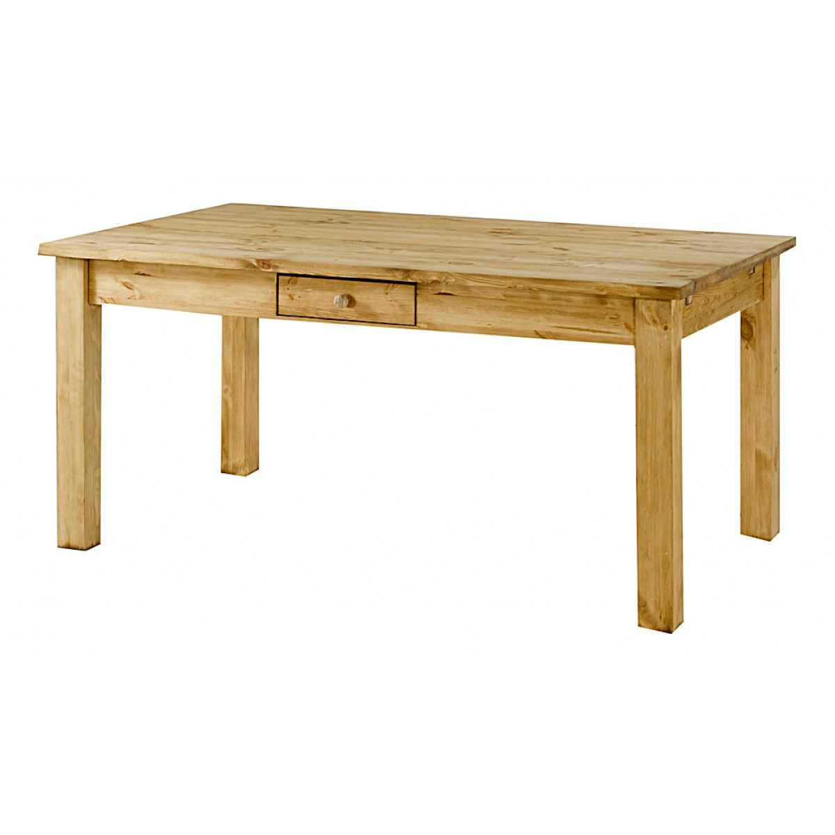 Table Pin Massif Tiroir 160x90 Cm Allonges En Option