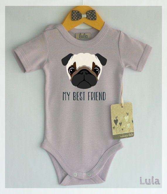 1d377e30c Pug baby clothes. Dog baby best friend print. by HandmadeByLula ...