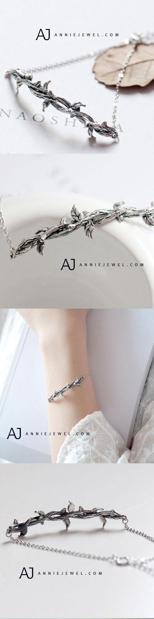 34600084c708e Silver Bracelet Bramble Charm Bracelet Chain Bracelets Gift Jewelry  Accessories Girls Women